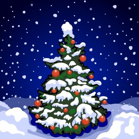 christmas religious: Christmas tree in the street  Night, falling snow