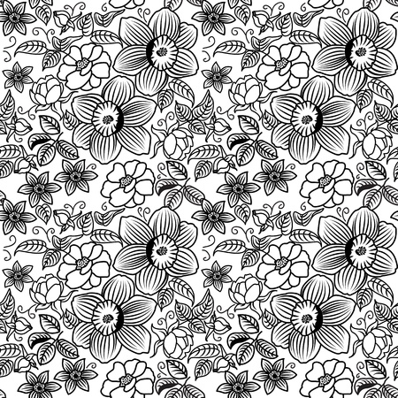 Set of different flowers on a plane  Seamless  Stock Photo