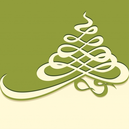 art deco design: Calligraphic flourish in the form of Christmas trees  Stock Photo