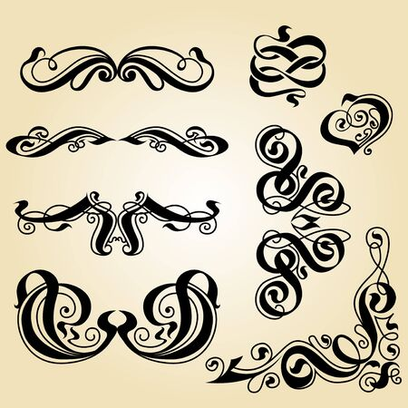 calligraphy ornament  Set of decorative calligraphic elements  Stock Photo - 15579706
