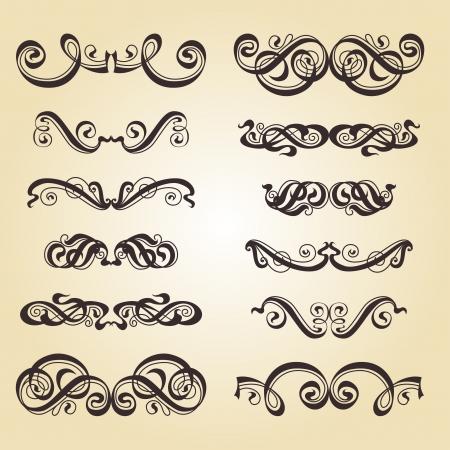 ornamentation: Calligraphic ornamentation  Set of decorative calligraphic elements  Stock Photo