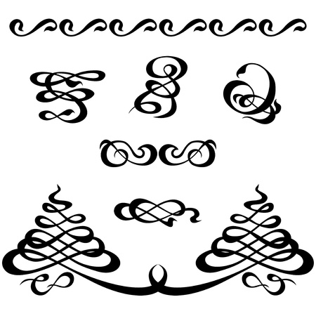 Calligraphic ornamentation  Set of decorative calligraphic elements  Stock Photo - 15579702