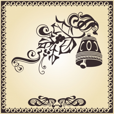 Calligraphic ornamentation  Set of decorative calligraphic elements  Bells  photo