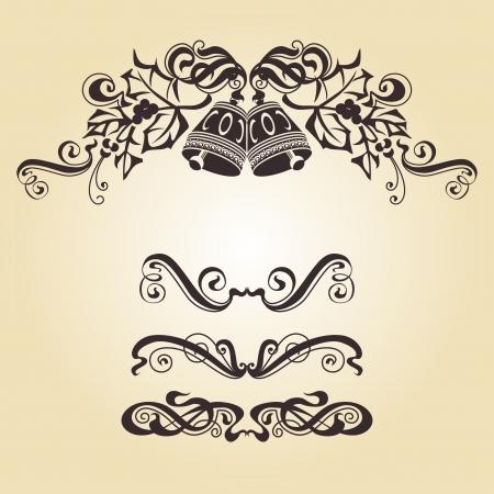 Calligraphic ornamentation  Set of decorative calligraphic elements  Bells  Stock Photo - 15579704