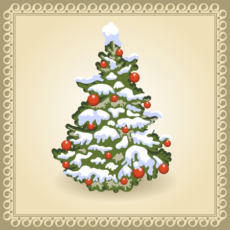 Christmas Tree  Card in vintage style