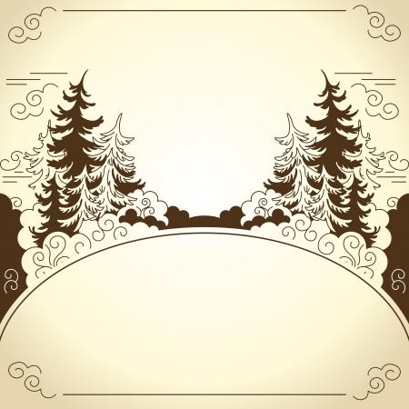 coniferous forest: Siluetas de invierno paisaje de abetos de dibujo