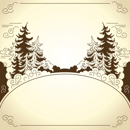 evergreen: Winter landscape  Silhouettes of firs  Drawing  Stock Photo