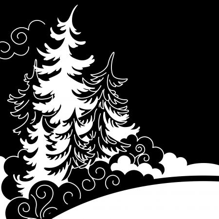 Zimní krajina Siluety smrků černé a bílé kresby