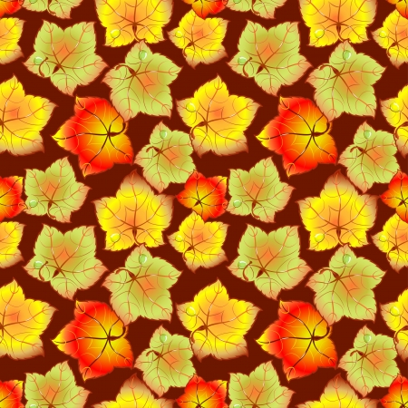 Red, yellow and green autumn leaves  Background, seamless  Vector