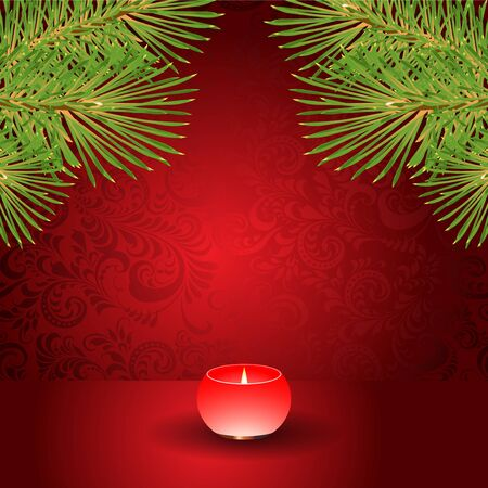 Christmas candle and spruce branch on a red background  Vector