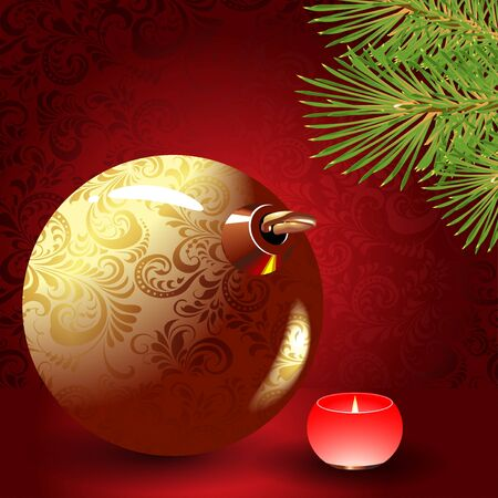 Christmas ball, candle and spruce branch on a red background  Stock Vector - 16014251