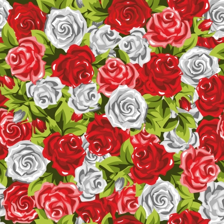 Red, white and pink roses  Seamless, background  Vector