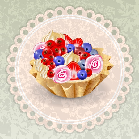 Fruit basket on a napkin  Grunge background  Stock Vector - 18027002