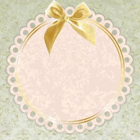Bright vintage napkin with a bow  Grunge background