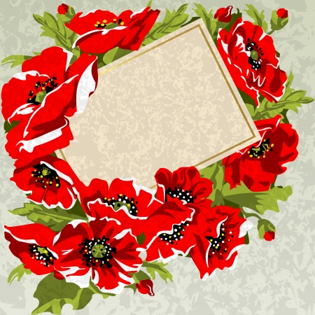 Card in a bouquet of poppies  Vector