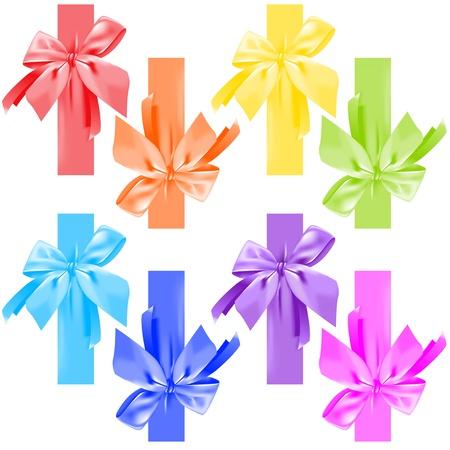 Colorful bow of satin ribbons