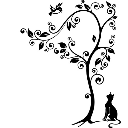 Cat under a tree looking at the bird  Black-and-white illustration  Illustration
