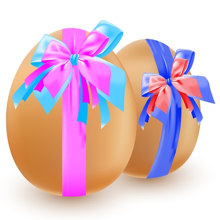 Two brown eggs, decorated with colorful bows