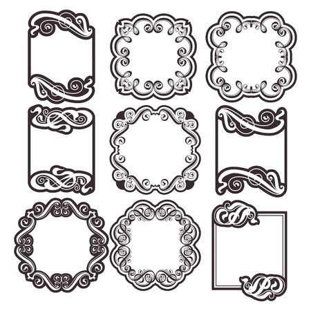 Vector set  vintage labels with calligraphic ornamentation