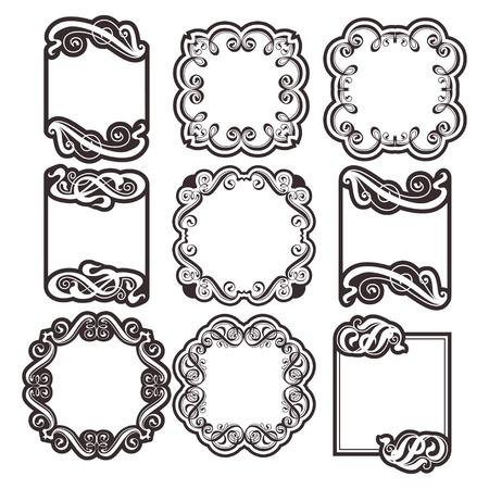 ornamentation: Vector set  vintage labels with calligraphic ornamentation