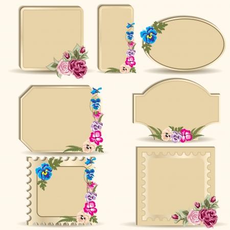 Set of vintage labels  Frame with flowers  Illustration