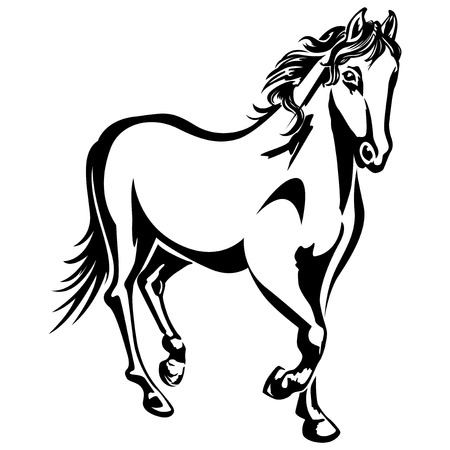 The horse is running  Black-and-white drawing  Silhouette