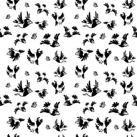 Set crow with various facial expressions  Black-and-white drawing  seamless