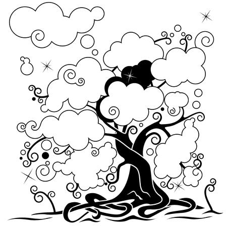 Árbol de las redes sociales, el árbol genealógico Negro y blanco