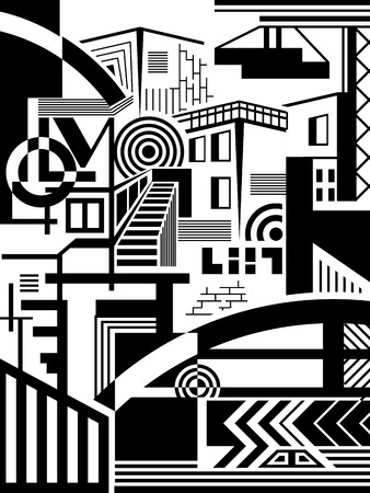 Abstract image of the elements of the city  The background  Black-and-white drawing  Vector