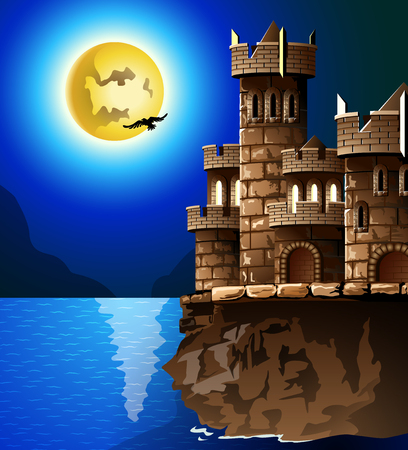 castle silhouette: Night landscape  Rock, castle, moon and crows