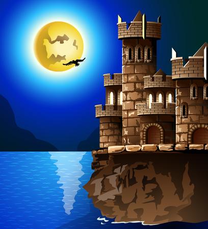 castle wall: Night landscape  Rock, castle, moon and crows