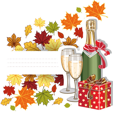 Autumn congratulation  Template  Leaves, wine, glasses and a gift  Place in the text  Vector