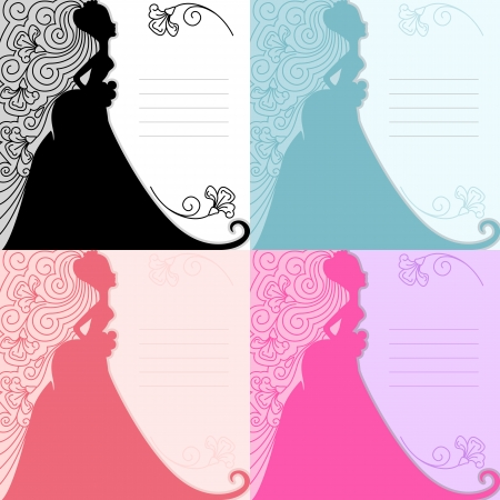 Silhouette of the bride  Floral ornament  The invitation to the wedding  Vector