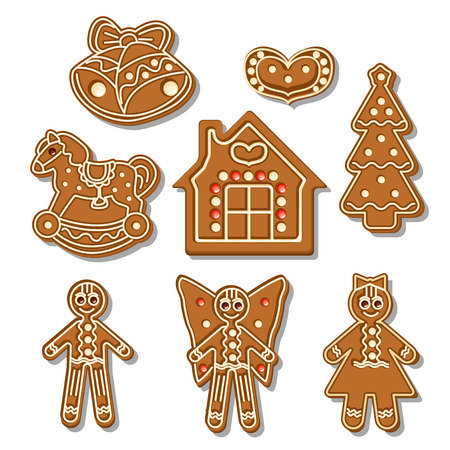 Set of different gingerbread figures on a white background  Vector