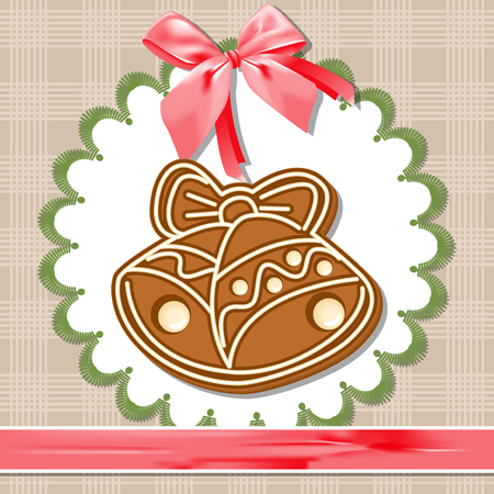 white napkin: Gingerbread bell on a white napkin