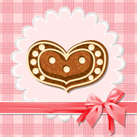 Gingerbread heart on a pink napkin  Red ribbon with a bow  Illustration