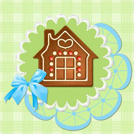 Gingerbread house on a green napkin  Blue bow  Stock Vector - 22867573
