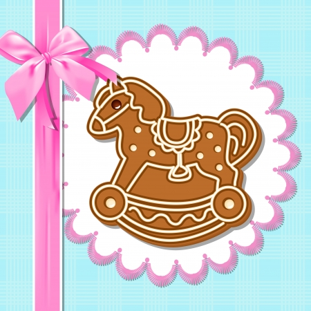 white napkin: Gingerbread horse on a white napkin  Pink ribbon with a bow