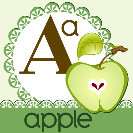 Alphabet. The letter A. Apple on green napkin.