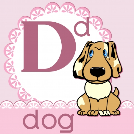 Alphabet. The letter D. The dog on a pink napkin. Vector