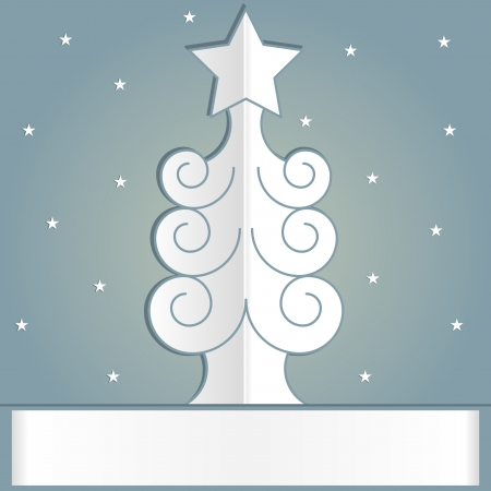Carved from a paper Christmas tree. The star on top. Place in the text. Vector