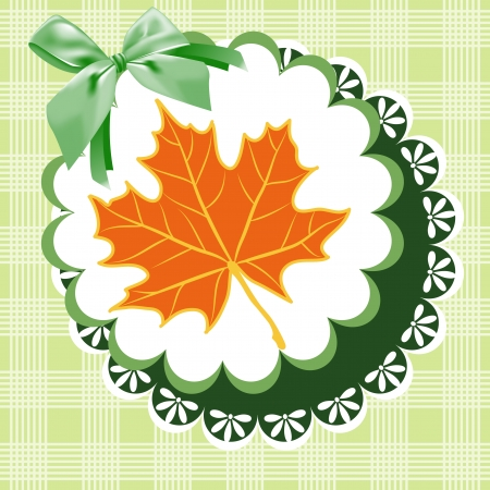 Autumn leaves on a green napkin with a bow. Illustration