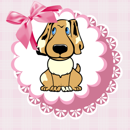 The dog on a pink napkin with a bow.
