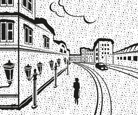 Drawing the city at night. Silhouettes of buildings, car, woman. Snow. Vector