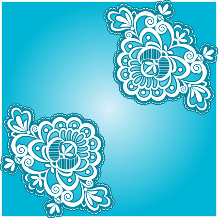 Blue cloth  Floral pattern, white lace  Vector