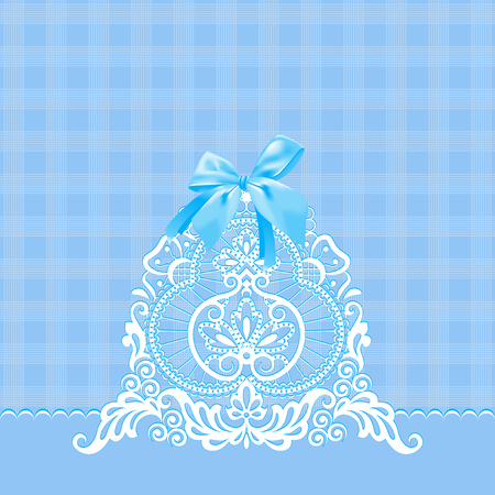 White lace on a blue background  Blue bow