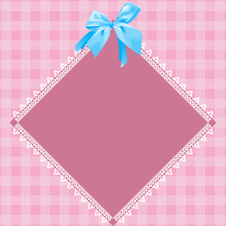 Lace doily  Pink background, blue bow