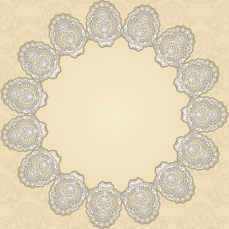Round lace doily on a beige background  Illustration