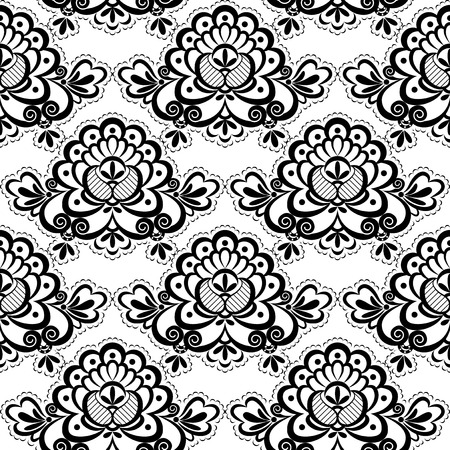 Black Lace  Floral pattern  Seamless texture  Vector