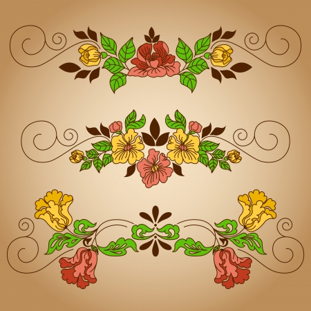 Set of vignettes with floral ornament